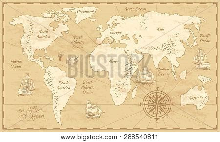Vintage world map. Ancient world antiquity paper map with continents ocean sea old sailing vector background poster