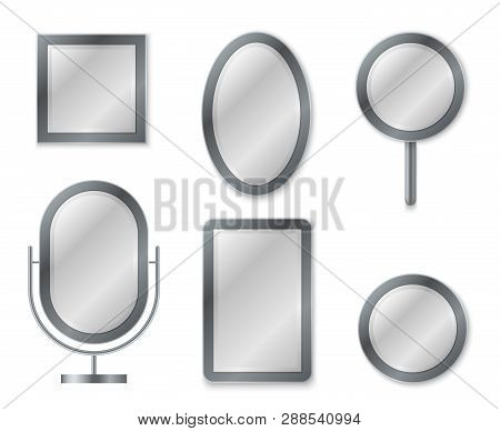 Mirror Set. Mirroring Reflection Surface Realistic Blank Mirrors Glass Circle Decor Frame Interior D
