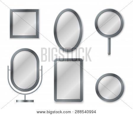 Mirror Set. Mirroring Reflection Surface Realistic Blank Mirrors Glass Circle Decor Frame Interior D