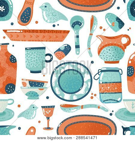 Crockery seamless pattern. Home watercolor kitchen and cooking tableware bowl decorative dish ceramic cup pitcher vector background poster
