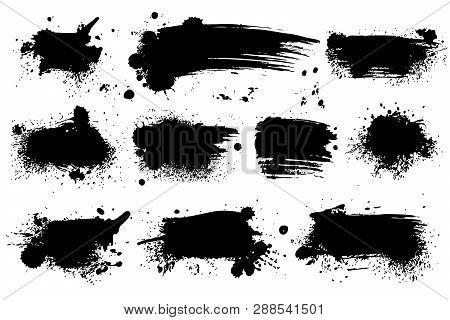 Ink Splashes. Black Inked Splatter Dirt Stain Splattered Spray Splash With Drops Blots Isolated Vect