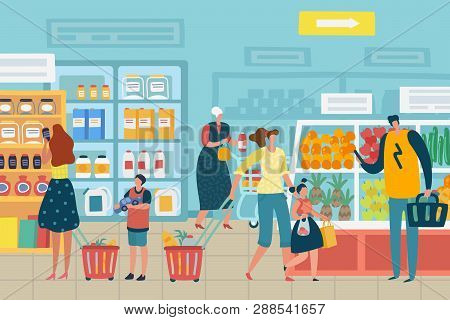 People In Store. Customer Choose Food Supermarket Family Cart Shopping Product Assortment Grocery St