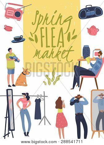Flea Market Poster. Fashionable Shopping Second Hand Stylish Goods Clothes Swap Meet Bazaar. Fleas M