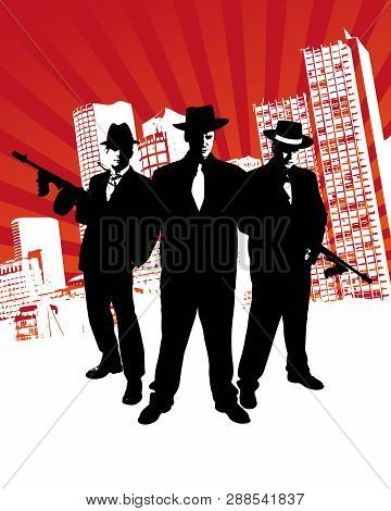 Mafia Boss With Machine Gun Stands In Front Of Skyline Of A City With Design Elements In The Backgro