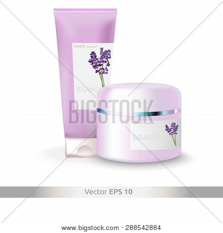 Cosmetic Set: Hand Cream In A Tube With Lavender And Face Cream In A Plastic Jar With The Scent Of L