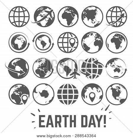 Globe Icons Set. World Earth Day Card With Globe Map Internet Global Commerce Tourism Gray Vector Sy