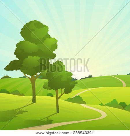 Summer Field Landscape. Nature Hills Fields Blue Sky Clouds Sun Countryside. Green Tree And Grass Ru
