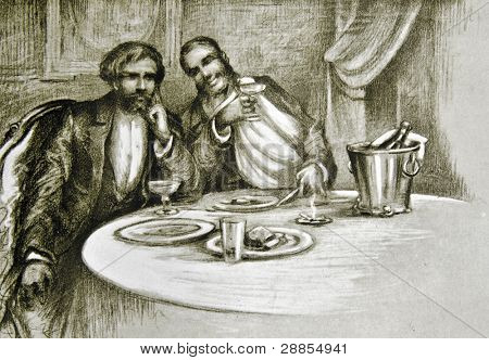 Table talk.  Illustration by artist Zahar Pichugin from book
