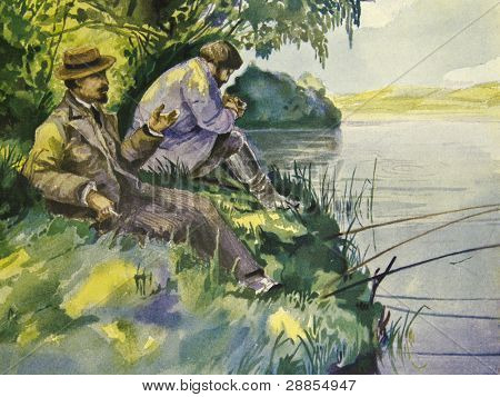 A gentleman on a fishing trip. Illustration by artist Zahar Pichugin from book