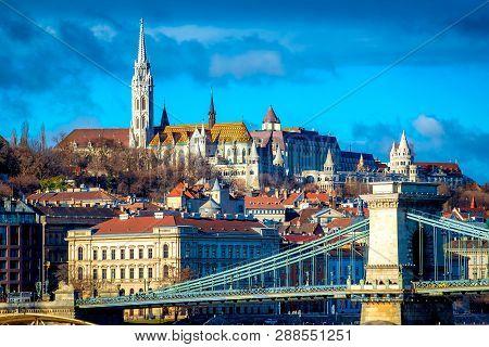 View Of Budapest Cityscape With Chain Bridge, Matthias Church And Fisherman Bastion. Hungary.