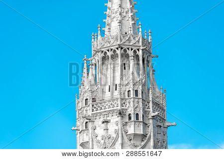 Matthias Church Spire Close-up. Budapest, Hungary. Color Tone Tuned