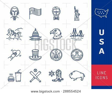 Usa Icon Set, American Culture Icons. Usa Flag, American Presidents, Uncle Sam Hat, Mount Rushmore.