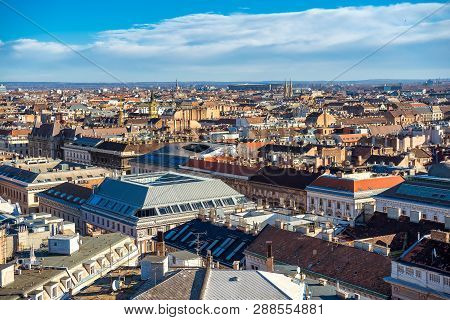 High Point View Of Budapest Cityscape. Budapest, Hungary.