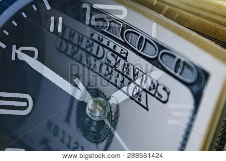 Conceptual Financial Image With Clock And 100 Usd Bills In A Composite Overlay For A Countdown Or De