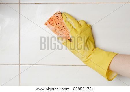 Close-up Woman Cleaning Tiled Surface In Kitchen.