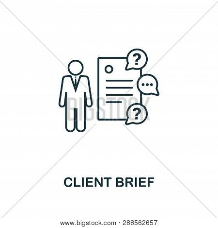 Client Brief Icon Thin Line Style. Symbol From Online Marketing Icons Collection. Outline Client Bri
