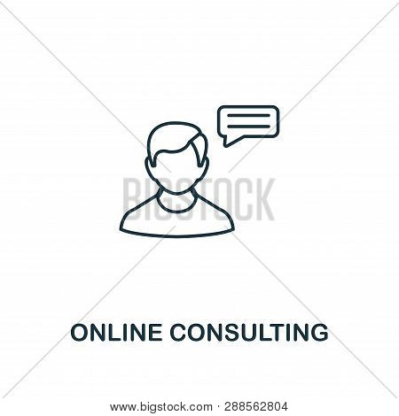 Online Consulting Icon Thin Line Style. Symbol From Online Marketing Icons Collection. Outline Onlin
