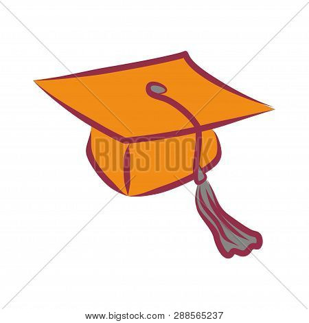Simple Vector Graduate Cap Icon. The Square Academic Cap, Mortarboard Or Oxford Cap - Flat Linear Cl