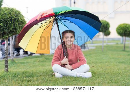 Any Weather Is Good. Rainbow After Rain. Multicolored Umbrella For Little Happy Girl. Positive Mood