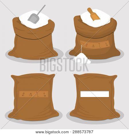 Illustration On Theme Set Different Types Sacks Filled Powder Salt, Bags Various Sizes. Sack Pattern