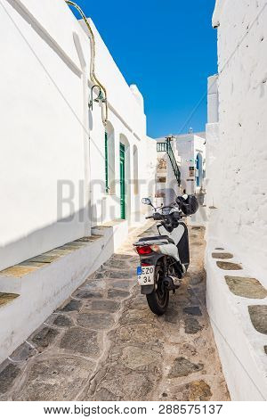 Sifnos, Greece - September 11, 2018: Scooter Parked On Street In Apollonia, The Capital Of Sifnos. C