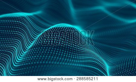 Abstract Futuristic Background. Wave With Connecting Dots And Lines On Dark Background. Wave Of Part