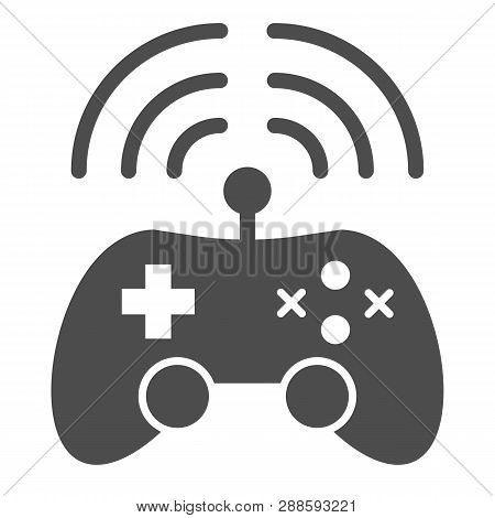 Wireless Game Controller Solid Icon. Joypad Vector Illustration Isolated On White. Game Console Glyp