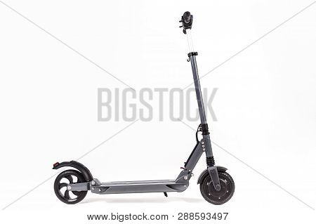 Gray Electric Scooter. Side View Isolated On White.