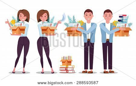 Set Of 4 Hired And Fired Woman And Man. Successful Smiling Employees Holding A Box With Her Things A