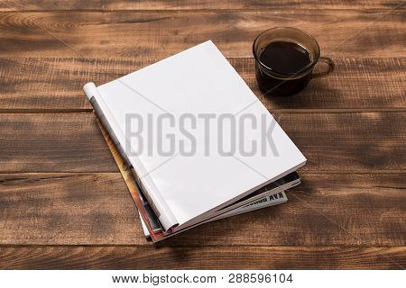 Mock-up Magazine Or Catalog On Wooden Table. Blank Page Or Notepad On Wood Background. Blank Page Or