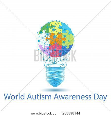 World Autism Awareness Day.vector Banner Template With Glowing Colorful Jigsaw Puzzle, Stars And Tex