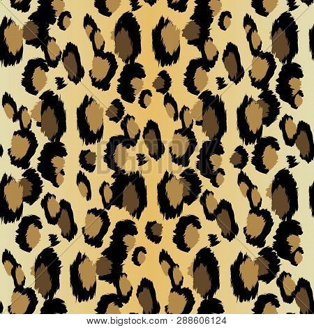 Leopard Pattern. Seamless Vector Print. Realistic Animal Texture. Black And Yellow Spots On A Beige