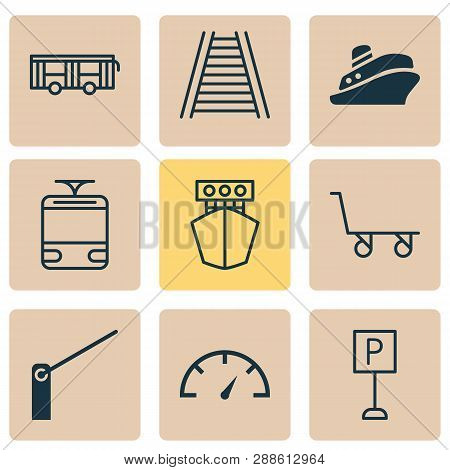 Shipping Icons Set With Tram, Shipping Tour, Yacht And Other Roadsign Elements. Isolated Vector Illu
