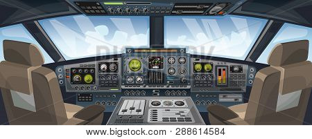 Airplane Cockpit View With Control Panel Buttons And Sky Background On Window View. Airplane Pilots