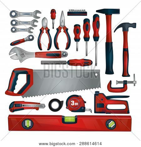 Hand Tools Icon Set Isolated On White Background. Working Tools And Instruments Collection For Repai