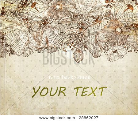 Stylish floral background, hand drawn retro flowers