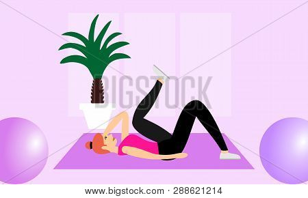 Young Fitness Sporty Girl Doing Exercises During Training Workout, Stretching In A Fitness Studio. B