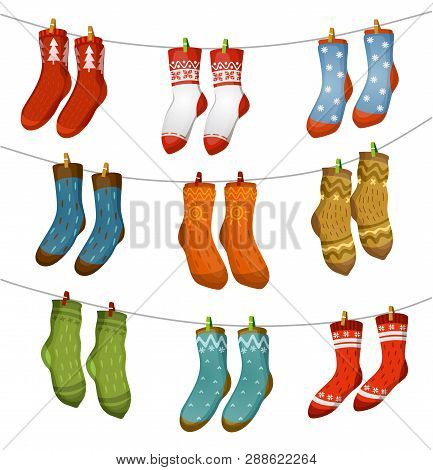 Ugly Socks Collection. Christmas Socks For Party, Invitation, Greeting Card In Cartoon Style. Ugly S