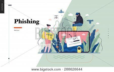 Technology 1 - Phishing - Flat Vector Concept Digital Illustration Of Phishing Scam Metaphor. Hacker