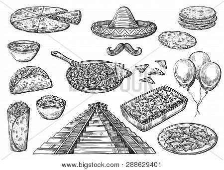 Cinco De Mayo Holiday Food And Symbols Isolated Sketches. Vector Mexican Pyramid, Sombrero Hat And M