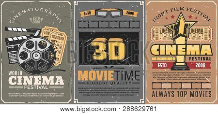 Movie Theater Or Retro Cinema, 3d Seance And Motion Picture Festival. Film Reel And Tickets With Cla