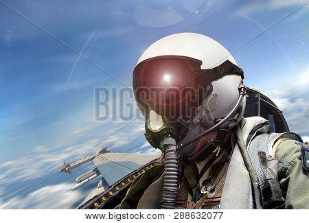 Fighter Pilot Cockpit View Under Bright Sunlight