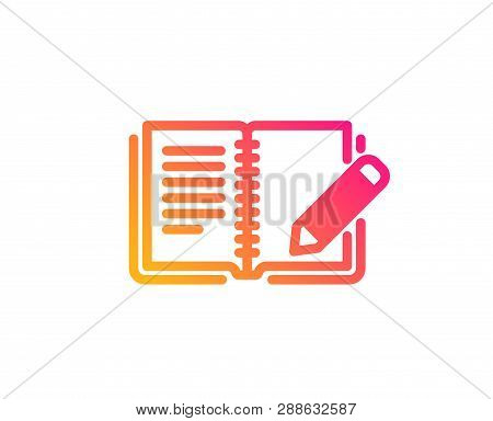 Feedback Icon. Book With Pencil Sign. Copywriting Symbol. Classic Flat Style. Gradient Feedback Icon