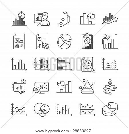 Charts And Diagrams Line Icons. Report, Block Diagram, 3d Chart And Dot Plot Graph Linear Icons. Tre