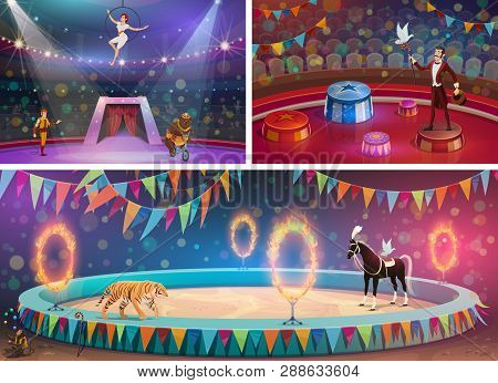 Circus Arena, Chapiteau Show And Handler With Gymnast, Magician And Animals. Vector Woman In Hoop An