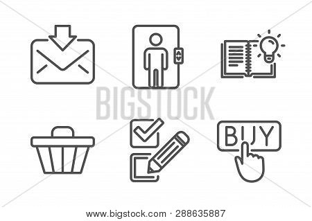 Incoming Mail, Shop Cart And Elevator Icons Simple Set. Product Knowledge, Checkbox And Buying Signs