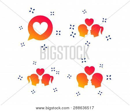 Couple Love Icon. Lesbian And Gay Lovers Signs. Romantic Homosexual Relationships. Speech Bubble Wit
