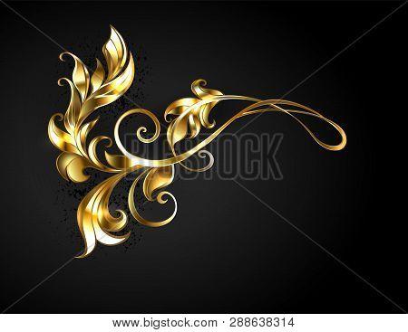 Asymmetric, Patterned Gold Frame Scroll On Black Background.