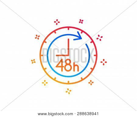 48 Hours Line Icon. Delivery Service Sign. Gradient Design Elements. Linear 48 Hours Icon. Random Sh