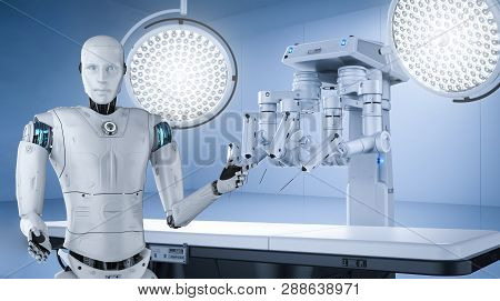 Medical technology concept 3d rendering robot surgery machine with cyborg and empty bed poster
